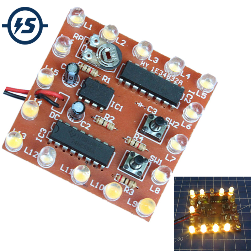 Search For Flights Ne555+74hc595 16bit 16 Channel Light Water Flowing Lights Led Module Kit Running Light Diy Kits Welding Practice Board Easy To Repair Integrated Circuits Active Components