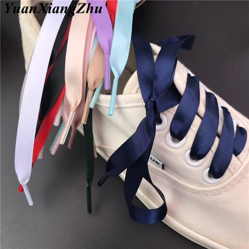 New 1Pair 1CM Width Satin Silk Ribbon Shoelaces 80/100/120/150CM Length Sneaker Sport Shoes Lace Adult Childrens laces S-2