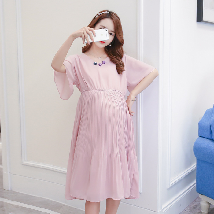 Dress Short Sleeve Round Collar Pleated Skirt Summer Comfort Chiffon Dress Pregnant Woman Clothes Maternity FF317