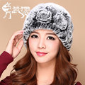 2016 Trend Real Fur Hat Women's Winter Cap Genuine Knitted Rex Rabbit Fur Hats Weave Flowers Fashion Beanies Various Colors Hat
