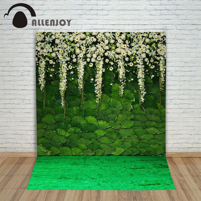 Allenjoy photographic background Green lotus flower garden backdrops boy wedding fabric photocall 8x12ft