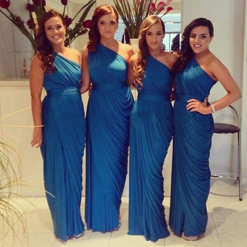 SINGLE ELEMENT Blue Bridesmaid Dresses Chiffon Boho One Shoulder Long Junior Maid of Honor Wedding Party Gust in Bridesmaid Dresses from Weddings Events