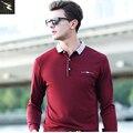 2017 лето высокое качество мужская polo рубашка деловой случай С Длинным рукавом хлопок polo мужчины Марка твердые polo shirt polo homme