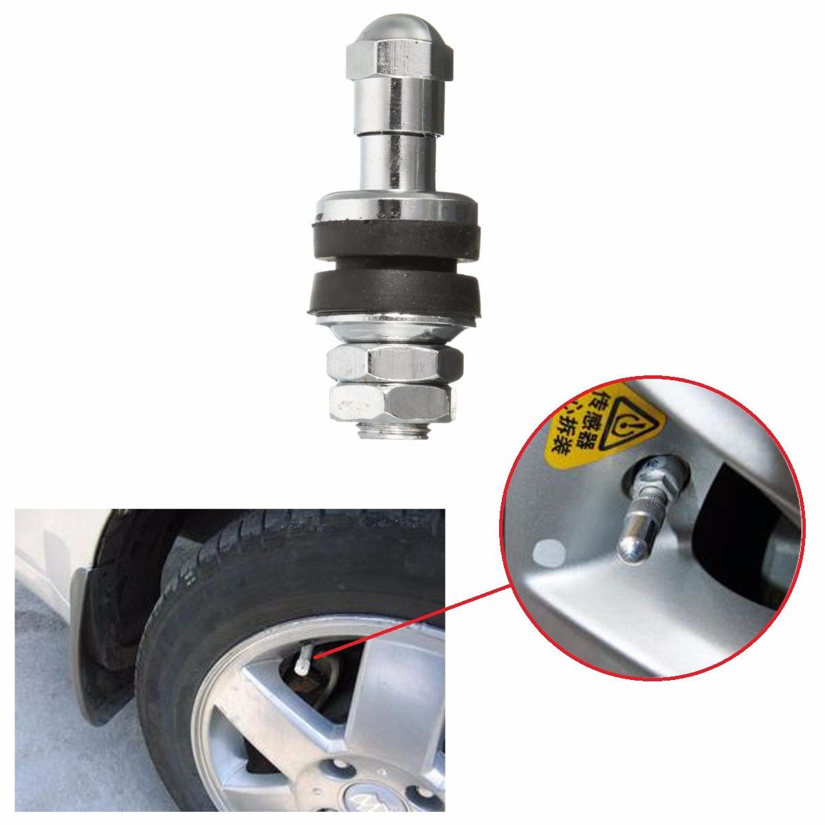 4 Piece Set Bolt In Flush Mount Metal Tire Valve Stems High Pressure CHROME