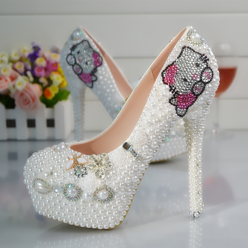 Plus size platforms white pearls wedding shoes bride sweet hello kitty design crystal rhinestones bridal ladies party shoe HS091