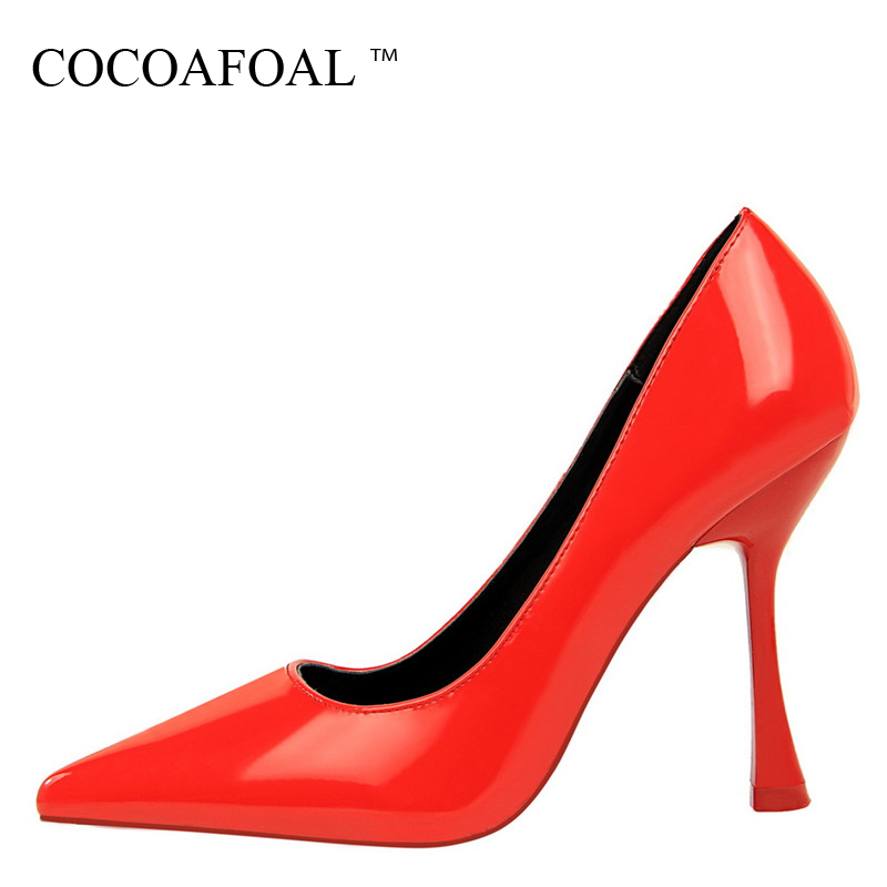 COCOAFOAL Woman Red Wedding Pumps Patent Leather Pointed Toe Sexy High Heels Shoes Spring Fashion Party White Silvery Pink Pumps fashion pointed toe leather women pumps sexy mixed color high heels shoes woman casual spring autumn slip on party wedding shoes