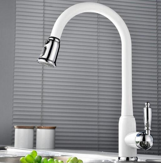 US $142.0 31% OFF|High Quality New Arrivals total brass pull out kitchen  faucet white hot and cold kitchen mixer sink mixer tap wash basin faucet-in  ...