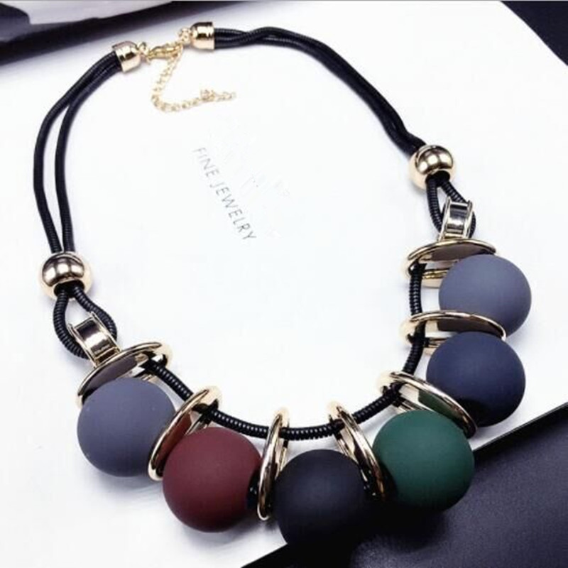 Ahmed Fashion Multicolored Statement Leather Necklaces & Pendants Resin Beads Necklace for Women Sweater Jewelry Gifts title=