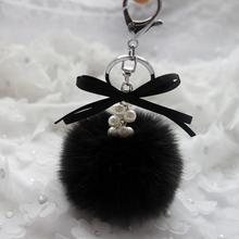 Starry-Styling Faux Rabbit Fur Ball Keychain for Handbag Plush Car Key Ring Pendant Key Chains Delicate Gift Women