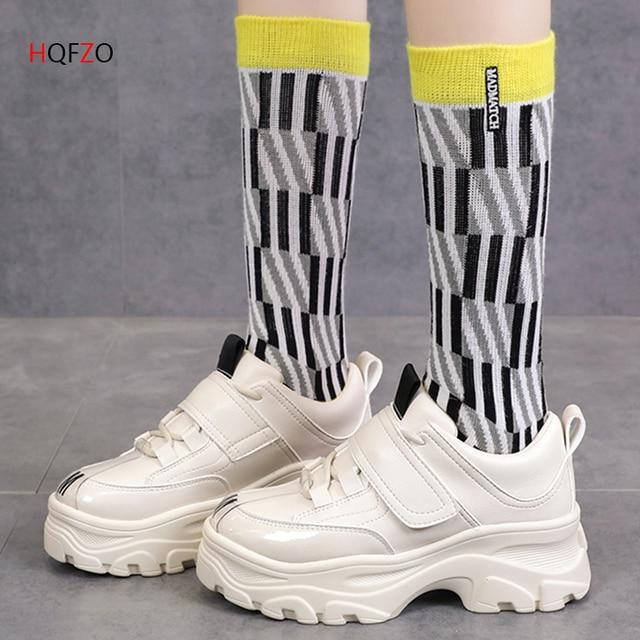 HQFZO Pantshoes/удобные кожаные кроссовки на высоком каблуке см 6 см, женские кроссовки на платформе, женская обувь, повседневная женская обувь, Bejge