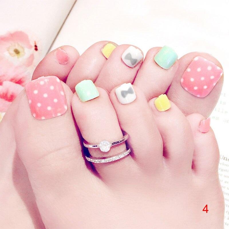 24 Pcsset 3d Toe Fake Nails With Glue Foot Full Toes Nail Art Tips