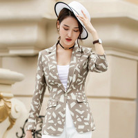 Feminino Women Floral Blazer Notched Collar Coat Female Outerwear work Jacket women's business Blazers Elegant Blazer suits
