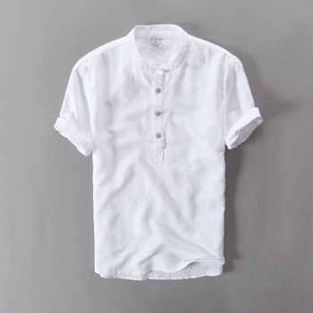 2019 Linen Causal Shirts Men's Soft Good Quality Stand Collar Short Sleeve Summer Fashion Chinese Style Breathable Tops White