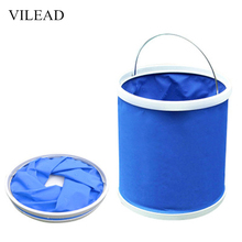 VILEAD 9L Folding Bucket Portable Fishing Travel Kits for Hiking Camping Multifunction Vehicle Oxford Water Bag