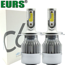 EURS(TM) 2PCS C6 H4 LED Headlamps High Quality Fog Light Front Bulbs H1 H7 H8 H11 9006 72W 7600LM 6000K Discount Price