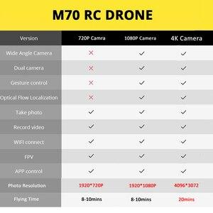 "Image 5 - Teeggi M70 RC Drone עם מצלמה HD 4K מצלמה 1080P FPV Selfie Dron Quadcopter מקצועיים לעומת E58 VISUO XS809HW XS809S מל ""טים"