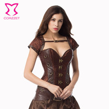Corzzet Brown Steel Boned Steampunk Overbust Corsets And Bustiers Waist Trainer Plus Size Gothic Corsage