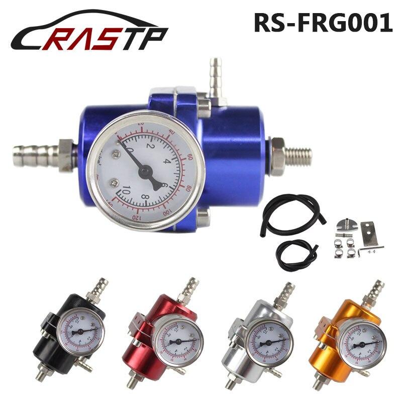 Universal JDM Adjustable FPR Fuel Pressure Regulator 0-140 PSI Gauge Gas Hose Kit For Ford Mustang 01-04 RS-FRG001