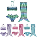 The Mermaid Swimming Girls Mermaid Swimwear Swimsuit Children Swimwear Girls Bathing Suit Three-piece suit