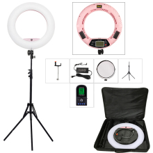 Yidoblo Pink FE-480II 5600K Dimmable Camera Ring Light 480 LED Video Light Lamp LCD RC Photographic Lighting +2M stand+bag yidoblo pink 96w 480pcs bi color photo studio ring led video light photographic lamp lcd screen display with remote controller