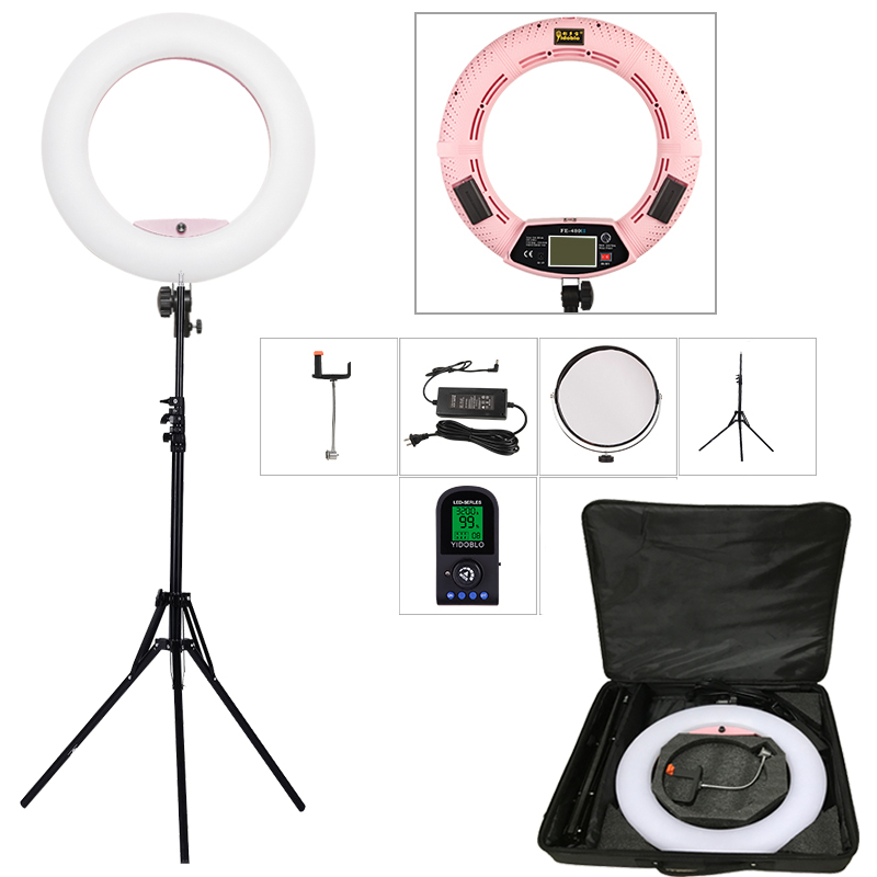 Yidoblo Pink FE-480II 5600K Dimmable Camera Ring Light 480 LED Video Light Lamp LCD RC Photographic Lighting +2M stand+bag brand yidoblo fd 480ii white pink black photo ring light led video lamp photographic studio lighting 5500k 480led lights