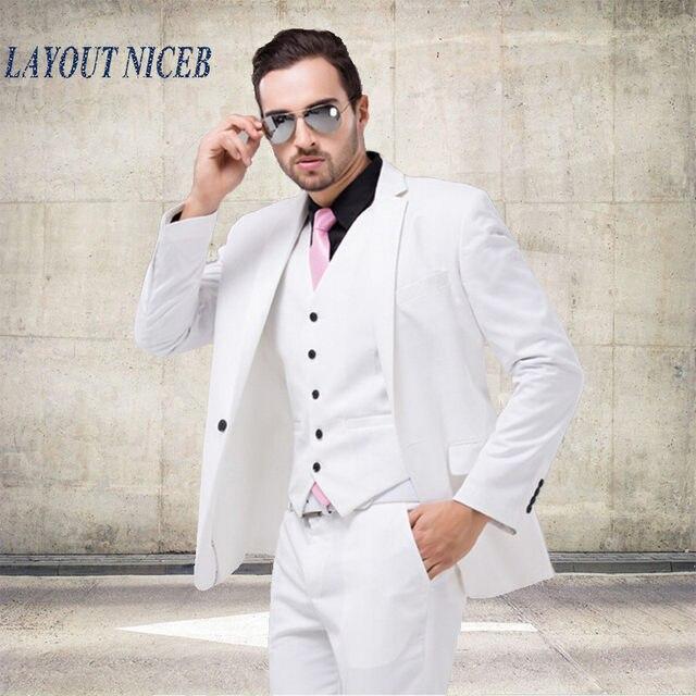Online Shop LN008 Italian Luxury Mens White Suit Jacket Pants Formal ...