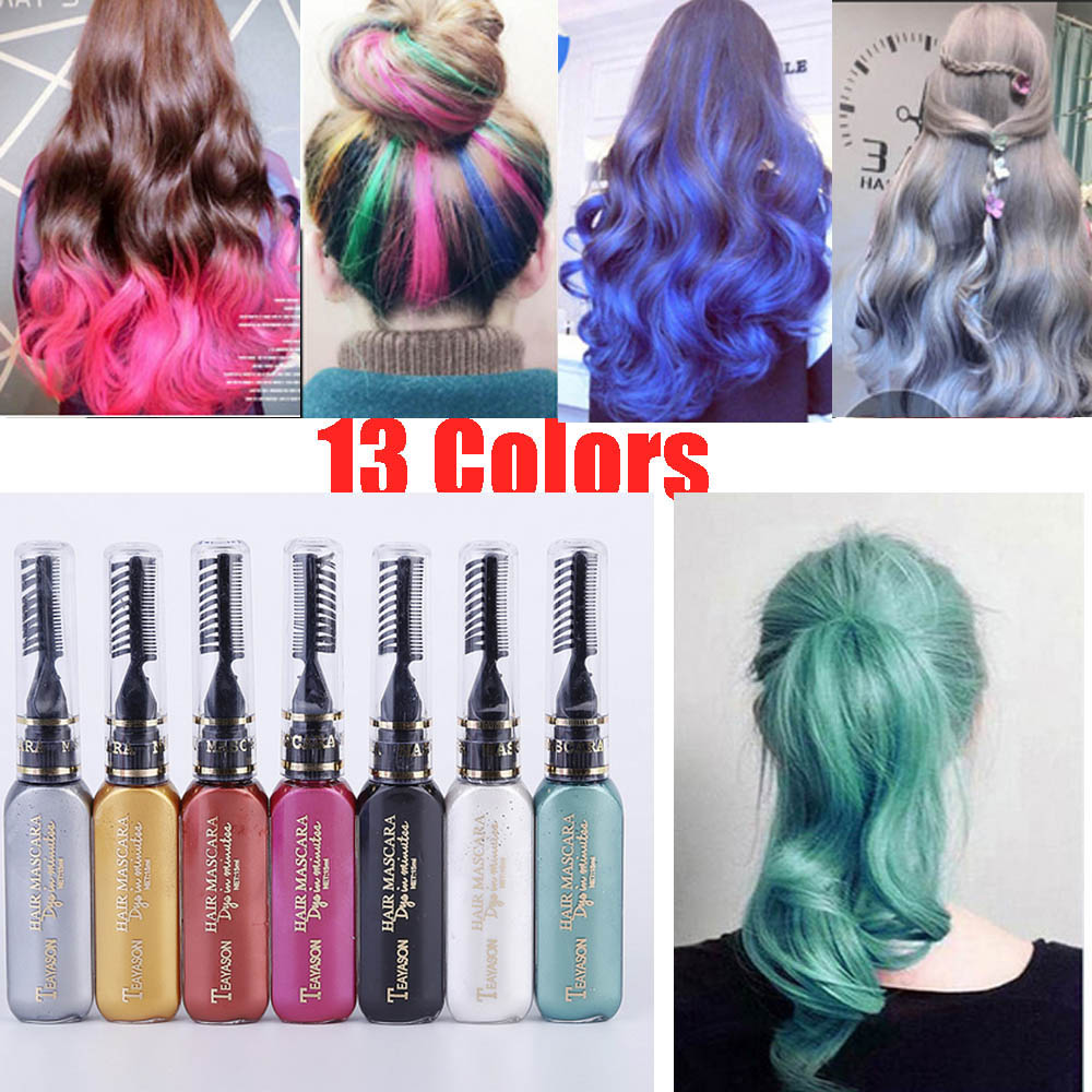 US $2.0 20% OFF|13 colors one time hair color DIY Hair Dye Temporary Non  toxic color hair wax waterproof mascara blue silver white grey AM024-in  Hair ...