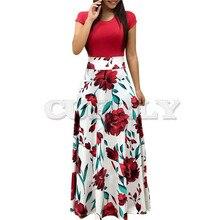 Women Summer Long Dress Floral Print Bohemian Beach Maxi Dress Casual Patchwork Short Sleeve Party Dresses CUERLY Verano 2019