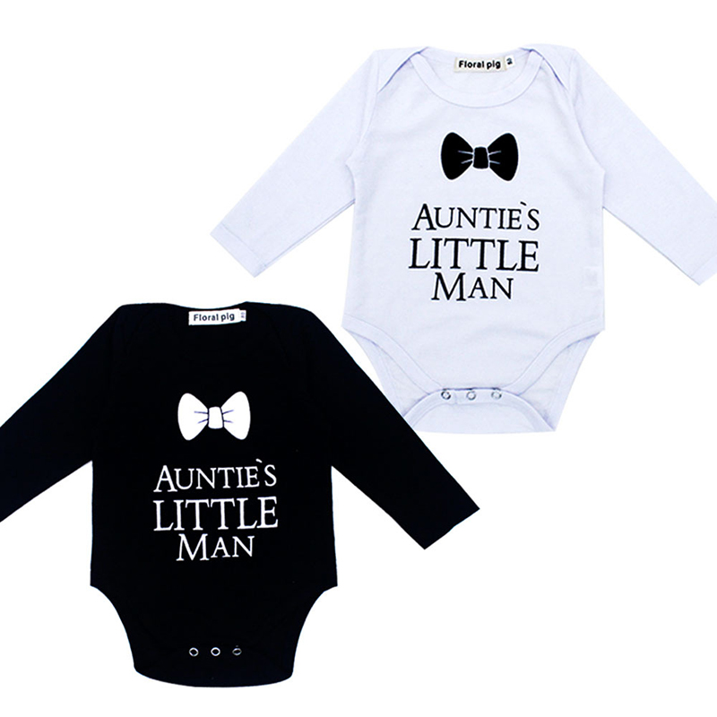 Baby Girl Boy Clothes Tiny Cottons Autumn 2018 Aunties Little Man White Long Sleeve Baby Bodysuit Jumpsuit Infant Baby Onesie