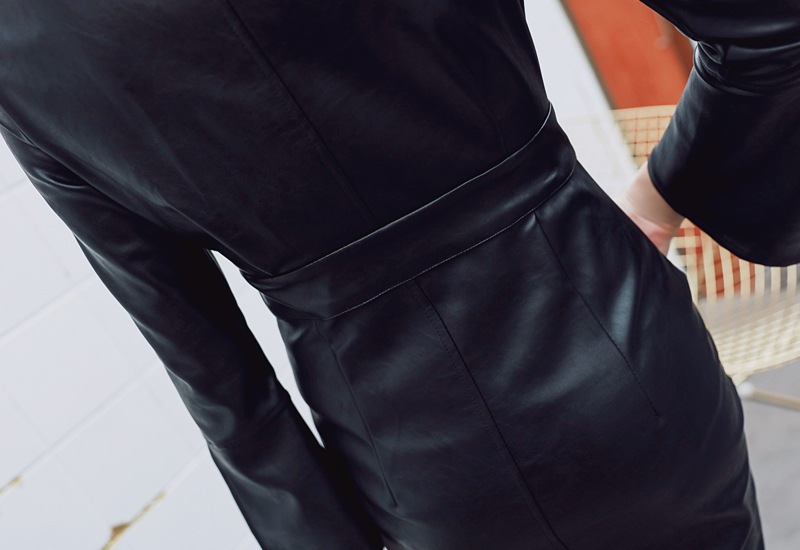 Black Zipper Sheath V Neck Long Sleeve Synthetic Leather Bodycon Dress