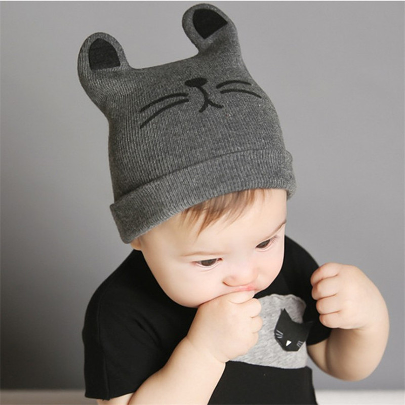 Cartoon Baby Hats Cat Knitted Cap Beard with Ears Winter Warm Newborn Caps Beanies Wool Girls Boys Hats Crochet winter beanie skull cap men wool hat gorro skullies beanies hats for men knitted hats boy casual bonnet caps bone feminino