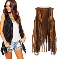 2017 Women Autumn Winter Faux Suede Ethnic Sleeveless Tassels Fringed Vest Cardigan