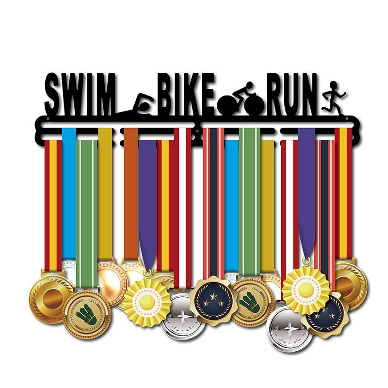 Medalha de cabide para Nadar, andar de Bicicleta, Correr Esporte triathlon titular medalha Medalha medalha de cabide cremalheira de exposição