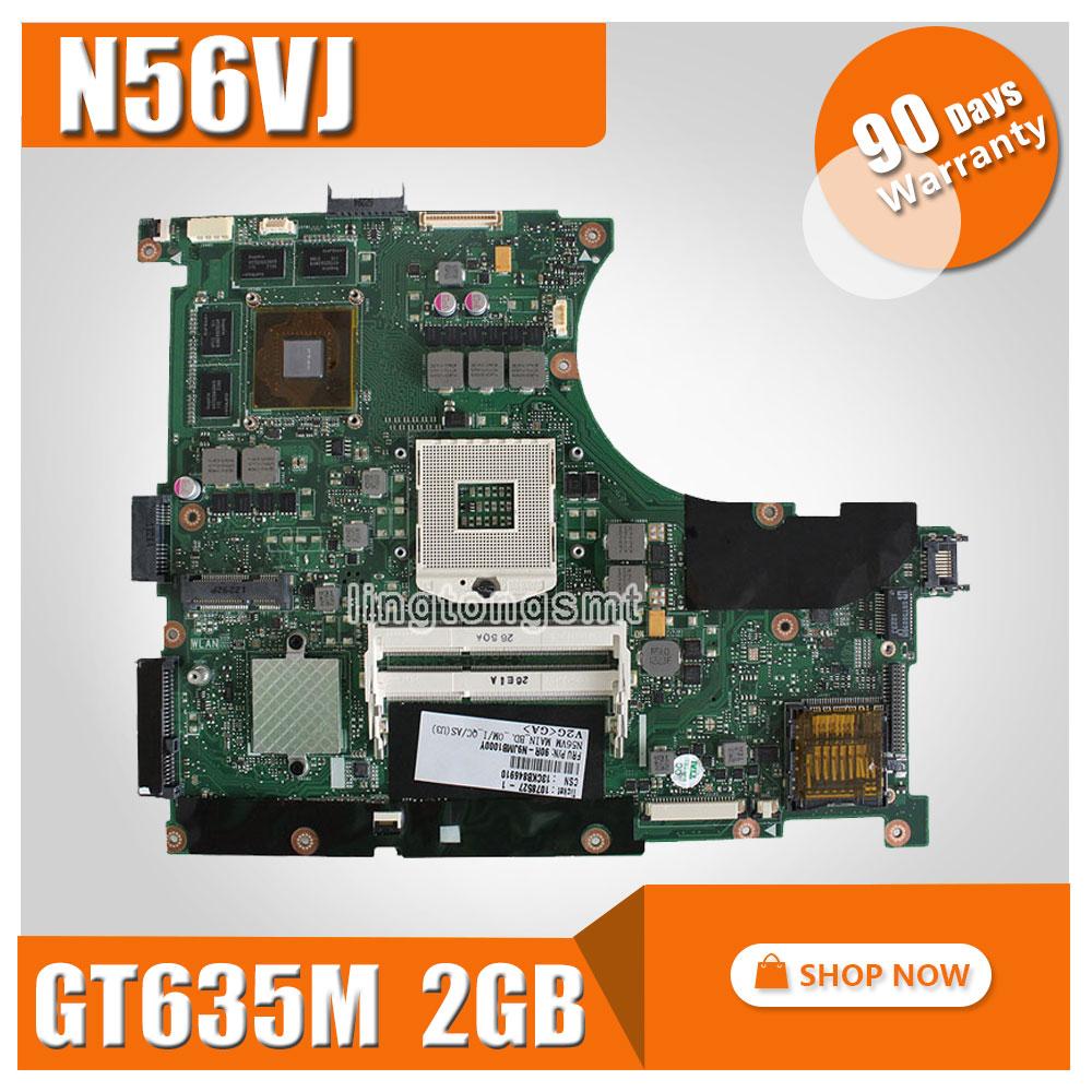 For ASUS N56VJ Motherboard N56VM REV2.3 mainboard GT635 2G DDR3 PGA 989 Fit N56VB N56VZ 100% Tested n56vm rev 2 3 laptop motherboard suitable for asus n56vm n56vj n56vz gt630m hm76 system motherboard original new
