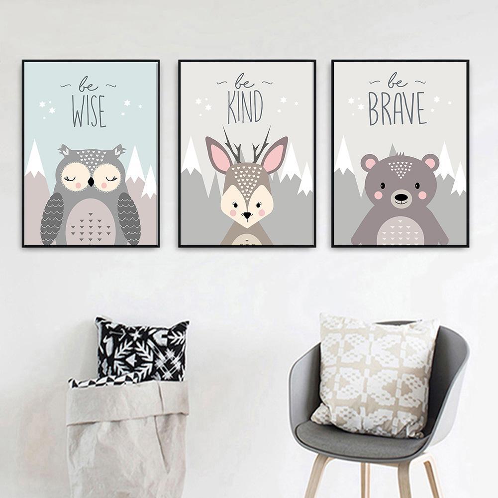 Painting Art Print Poster Deer Nordic Canvas Children Bedroom Home-Decor Cute Fox Owl