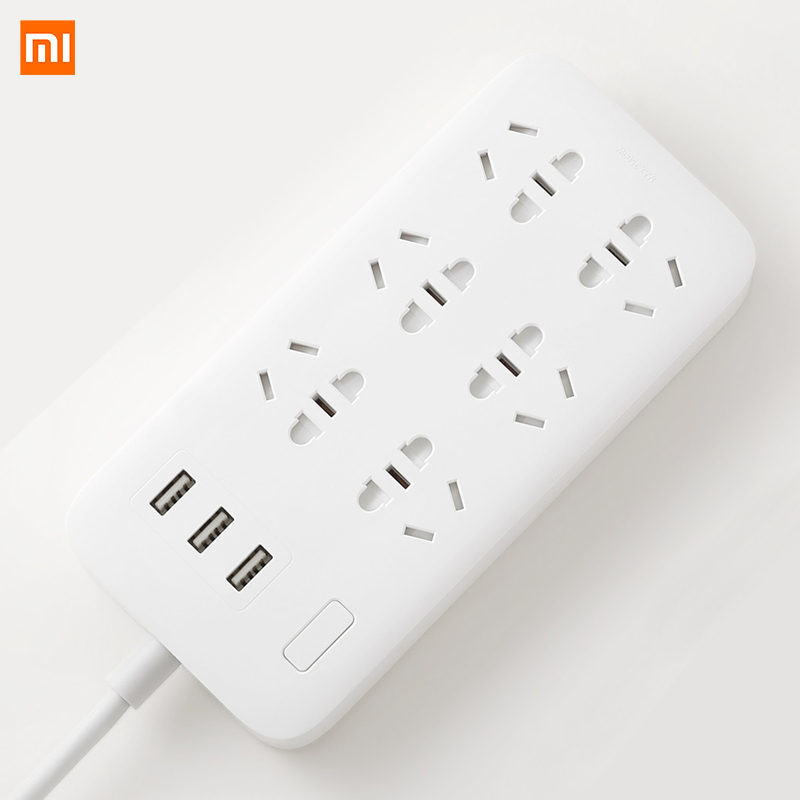 Оригинальная силовая полоса Xiaomi Mijia, базовая версия 6 розеток С 3 5 в 2,1 А, быстрая зарядка, usb-порты, белая розетка Mi Solid Color