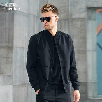 Enjeolon Brand Spring Bomber Jackets Men Concise Black Solid Men Jacket Coats Stand Collar 3XL Jacket Clothes JK625 - DISCOUNT ITEM  49% OFF All Category