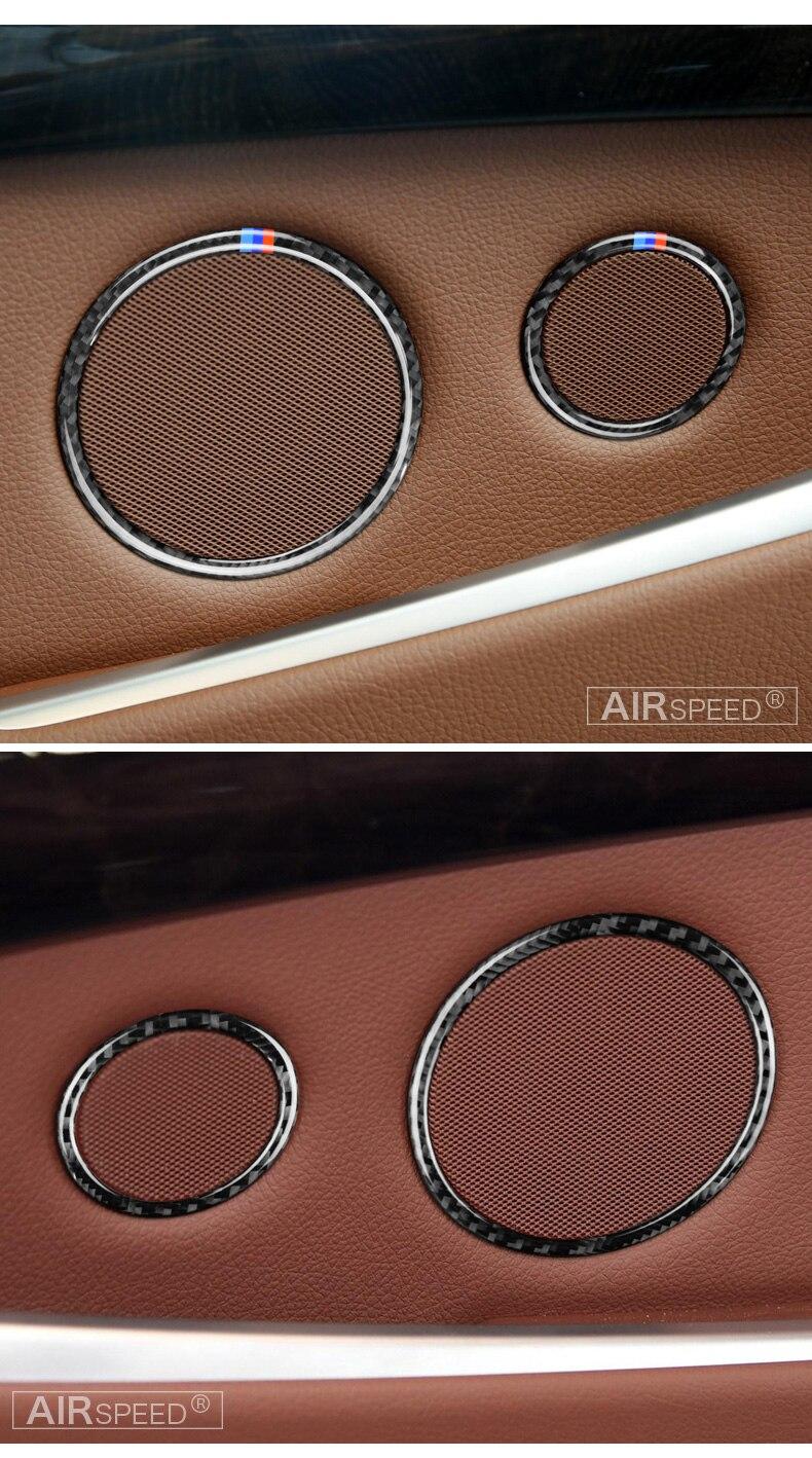 Airspeed for BMW F25 X3 X4 F26 X4 BMW F26 F07 Sticker for BMW X3 F25 Carbon Fiber Interior Trim Stickers Car Door Speaker Ring (3)