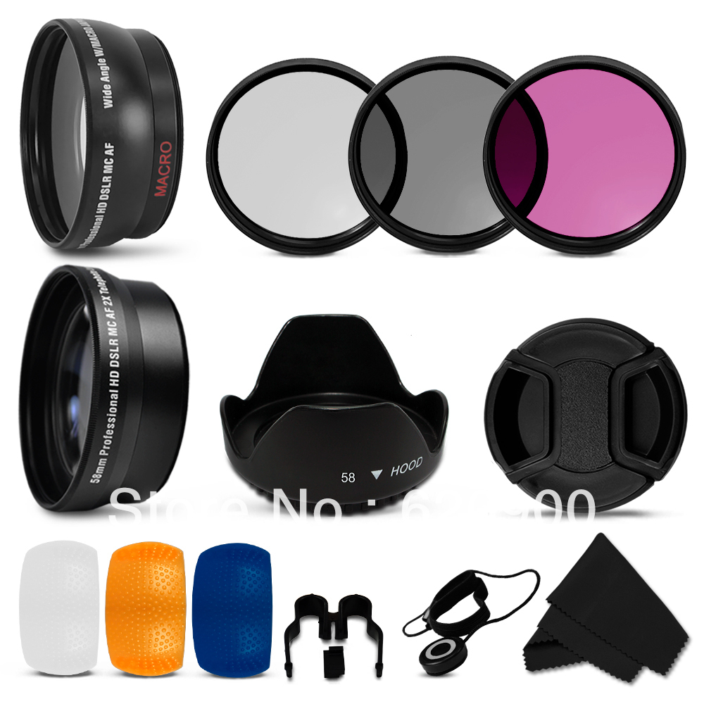 ФОТО 100% Professional  58mm 2x Telephoto & 0 .45x Wide Angle Lens + Filter Kit CPL UV FLD +HOOD +PEN for Canon Rebel T1i T2i T3 T3i