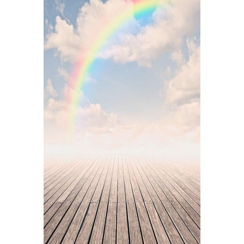 Бесшовные винил фотографии Задний план Pier с радугой на закате компьютер печатных дети фон для Аксессуары для фотостудий f-3160