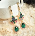 SBY0868 New 2015 Hot Sale Studs Green Stone Bohemian Long Earrings studded Jewelry For Women