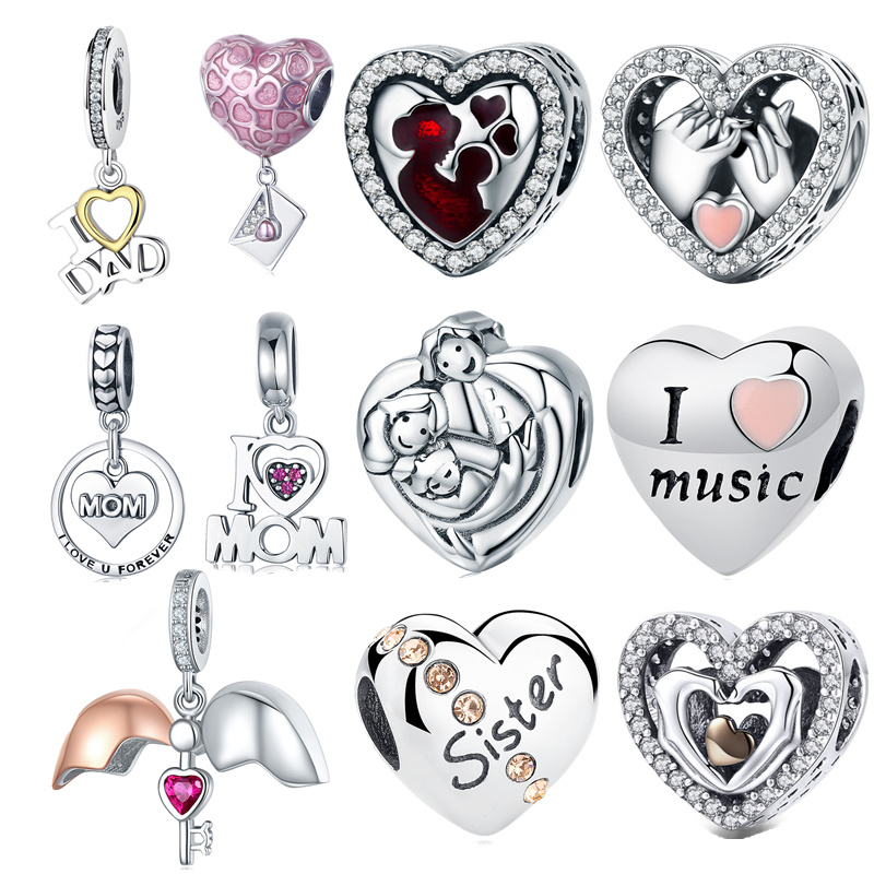 INBEAUT 100% Real 925 Sterling Silver Love Mom&Dad Baby Heart Charms Family Beads Fit Pandora Bracelet For Mother's Day Gift