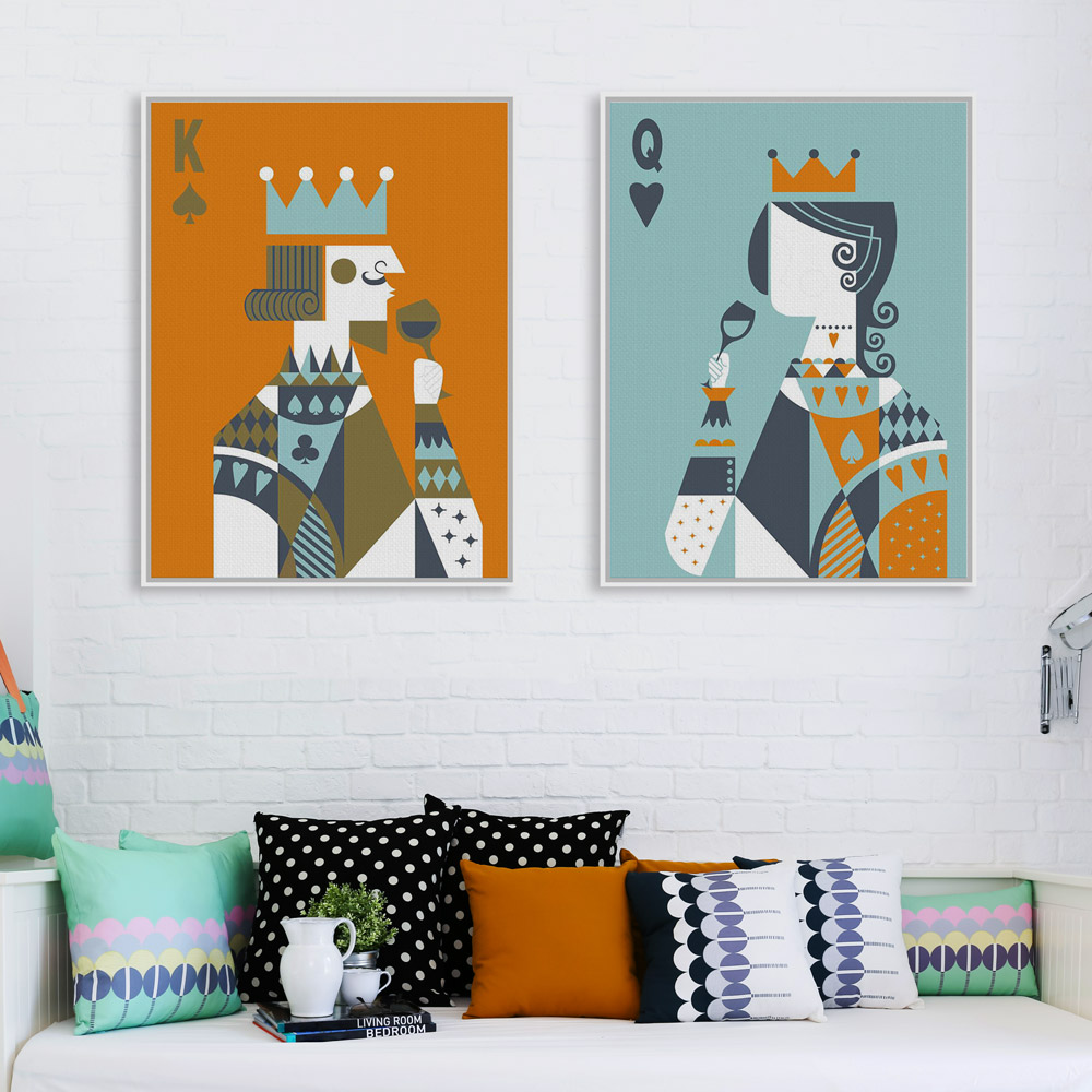 Modern abstract poker king queen couple love poster print for Wedding wall decor