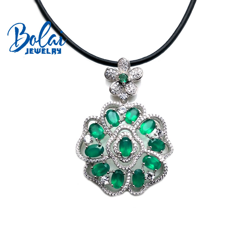 bolaijewelry,big flowered pendant with natural Fanta sapphire and green agate gemstone in 925 silver fine jewelry with gift box fanta