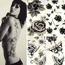 Black Women Body Art Sticker Removable Tattoo Sticker Multi Pattern Temporary Tattoo