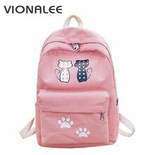 Женщины-кошки холст рюкзак большой летняя сумка розовый для девочек уха рюкзак подростковые рюкзаки для девочек Женский школьный рюкзак