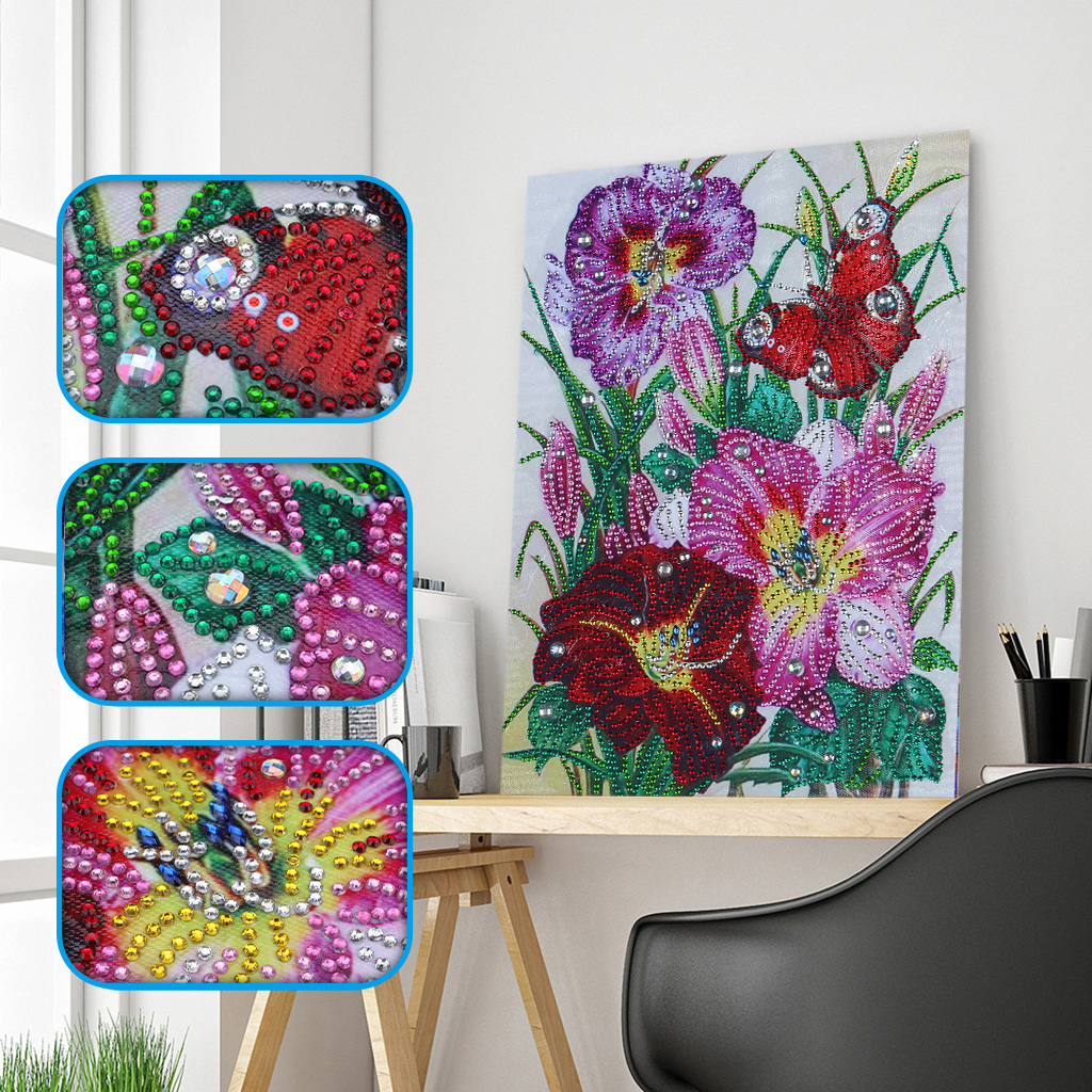 Diamond Embroidery Butterfly Flower Pansy Special Shaped Diamond Painting Needlework Rhinestone 5D Drill DIY Crystal Painting