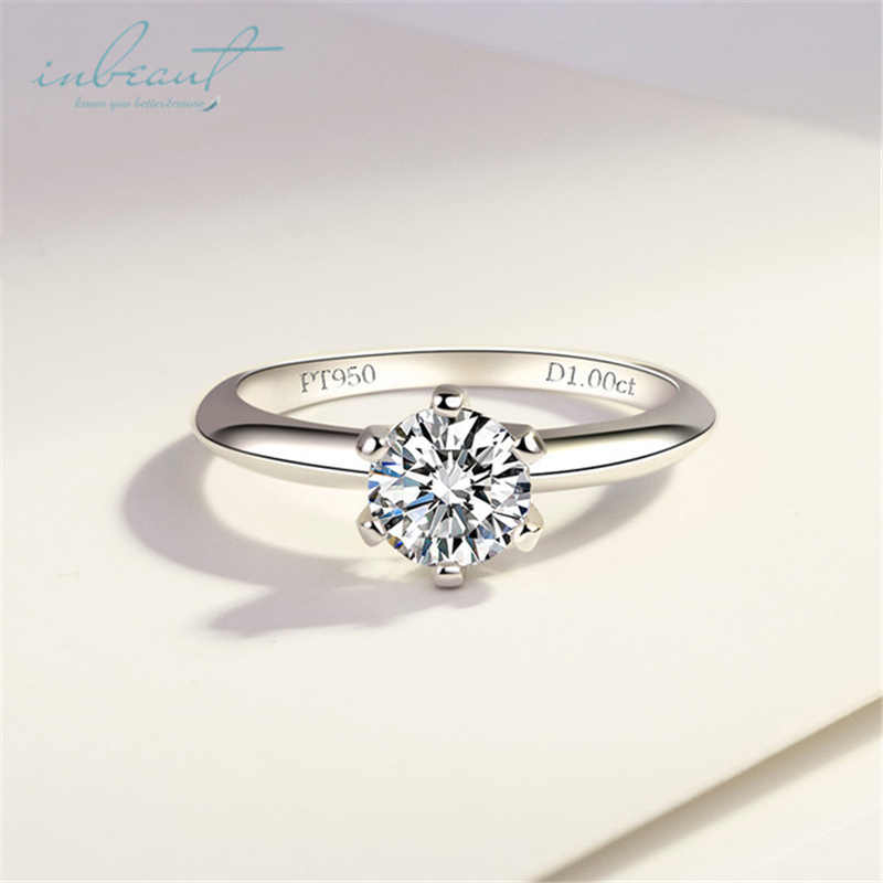 inbeaut S925 Sterling Silver PT950 Similar Moissanite Ring Sparkling 1Ct Excellent Cut Simulated Diamond Ring for Women Wedding