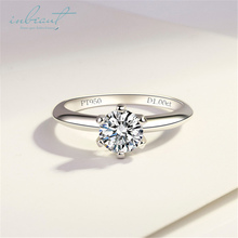 inbeaut S925 Sterling Silver PT950 Similar Moissanite Ring Sparkling 1Ct Excellent Cut Simulated Diamond for Women Wedding