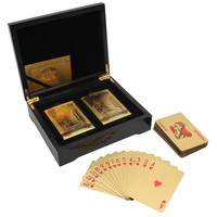 2 Deck 54 Cards Included 2 Joker 24k Gold Foil Palying Cards With Certificate In Black Wooden Box New Arrival Gambling